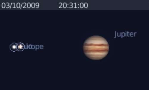 Le satellite Io occulte le satellite Europe
