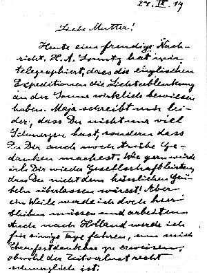 Lettre d'Einstein à sa mère lui annonçant la mise en évidence de la courbure de la lumière par le champ de gravitation du Soleil.