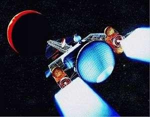 Vue d'artiste d'un moteur nucléoélectriqueSon principe repose sur l'ionisation d'un gaz et son éjection à grande vitesse (Crédits : NASA)