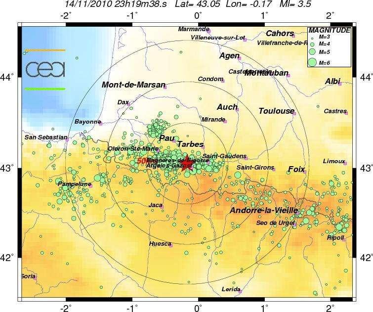 La terre a tremblé dans les Pyrénées-Atlantiques dans la nuit du 14 au 15 novembre 2010. La plus grosse secousse, dont l'épicentre était situé à quelques kilomètres d'Argelès-Gazost, a atteint une magnitude de 4 sur l'échelle de Richter. © BCS