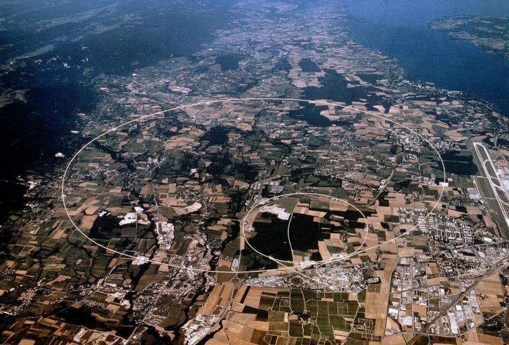 Une vue aérienne de la localisation du tunnel du LHC. Crédit : Cern