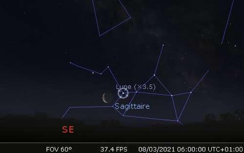 La Lune en rapprochement avec Nunki