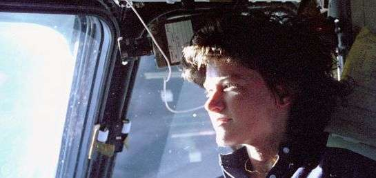 Sally Ride à bord de Challenger. Crédit Nasa