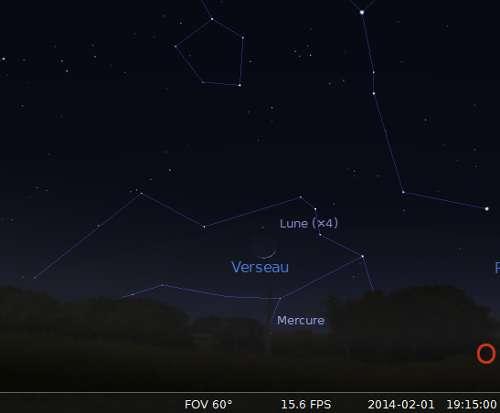 Le 01/02/2014 : la Lune en rapprochement avec Mercure. © DR
