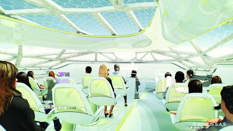 Airbus planche sur l'avion du futur côté passagers et avait déjà présenté des concepts futuristes. On voit ici un toit transparent permettant d'admirer le ciel. Les techniques à mettre en œuvre sont sûrement complexes, et surtout encore inexistantes... Le casque à réalité virtuelle est plus simple et lui existe déjà. © Airbus, all rights reserved