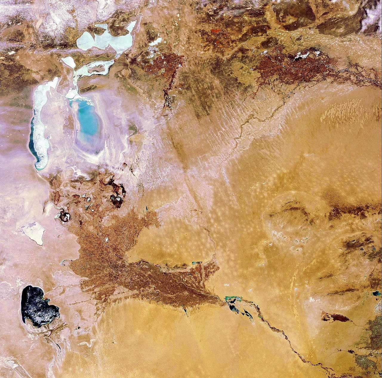 La mer l'Aral vue par la caméra Meris d'Envisat. Crédit Esa