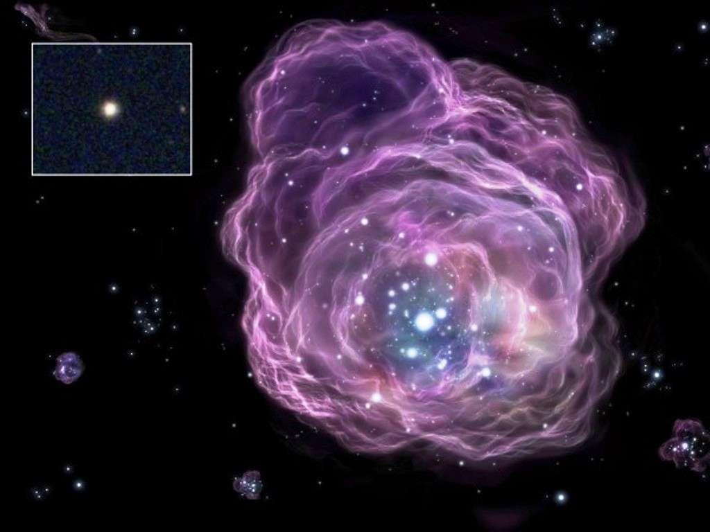 En haut à gauche on peut voir une image dans le visble de l'étoile SDSS J0018-0939, obtenue par le Sloan Digital Sky Survey. Il s'agit d'une étoile avec une masse de presque la moitié de celle du Soleil à environ 1.000 années-lumière de nous, en direction de la constellation de la Baleine. Le reste est une représentation d'artiste de la pouponnière de jeunes étoiles où est née SDSS J0018-0939. Elle devait provenir des restes d'une étoile de première génération au moins 140 fois plus massive que notre Soleil et qui avait explosé en donnant une supernova exotique. © SDSS, National Astronomical Observatory of Japan