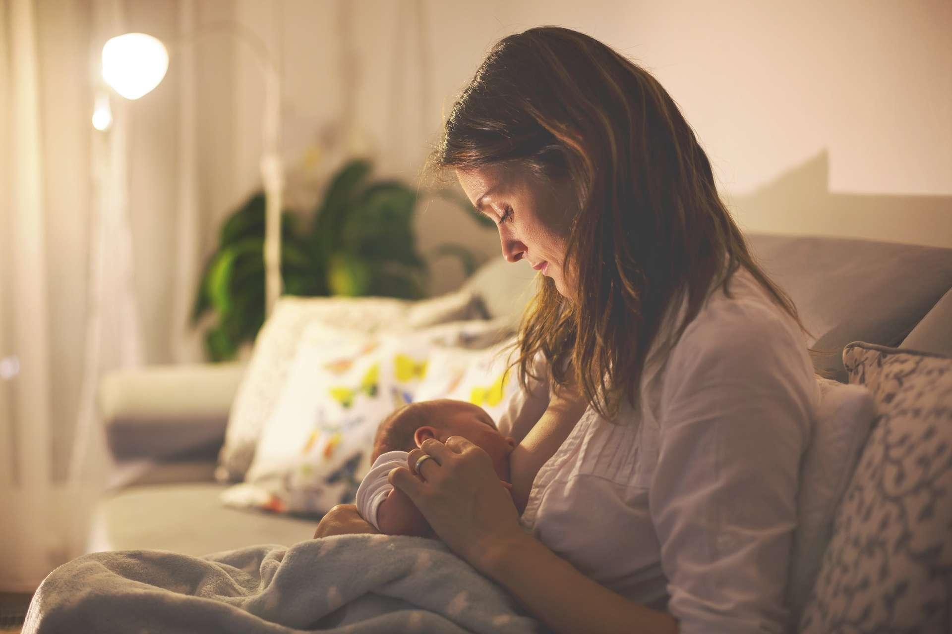 Les seins des femmes contiennent des glandes mammaires. Après l'accouchement, celles-ci produisent successivement trois types de lait : le colostrum (les premiers jours), le lait transitionnel (pendant quelques semaines), puis le lait mature. © Tomsickova, Adobe Stock