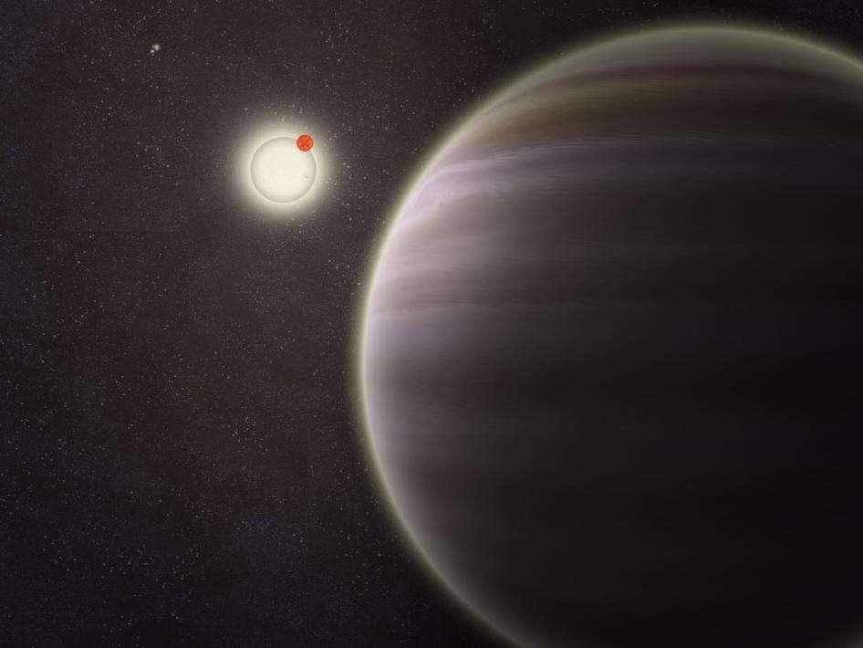 Une vue d'artiste de la planète géante gazeuse PH1, au premier plan, avec les deux étoiles doubles autour desquelles elle tourne, comme deux autres étoiles, bien plus éloignées. © Haven Giguere/Yale