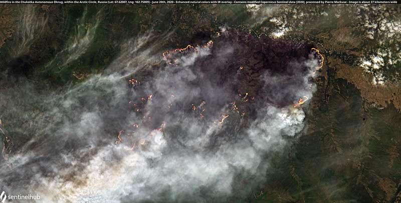 Les incendies dans la région de Tchoukokta en Sibérie, près du cercle polaire, le 20 juin dernier. © Avec des données modifiées de Copernicus Sentinel, réalisation Pierre Markuse