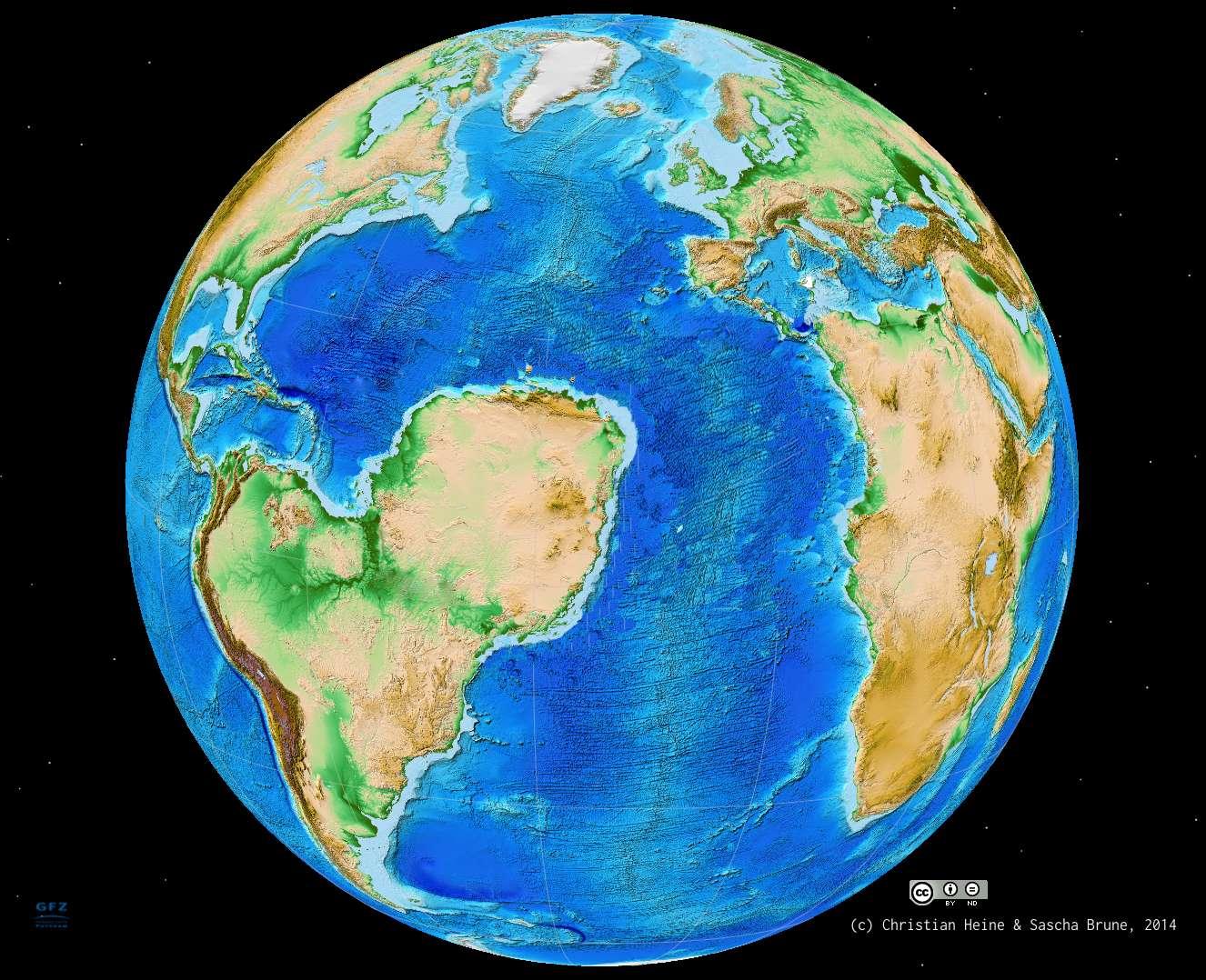 Si un second rift n'était pas entré en compétition au Crétacé avec celui qui se mettait en place du nord au sud du Sahara, le morcellement des supercontinents Gondwana et Laurasia aurait conduit à une répartition différente des continents. Comme le montre cette projection hypothétique de l'histoire de la dérive des continents, il existerait alors aujourd'hui un océan à la place du Sahara. © Sascha Brune, Christian Heine, cc by nd