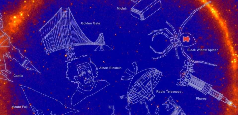 21 nouvelles constellations non officielles en rayons gamma ont été inventées par la Nasa pour célébrer 10 ans de découvertes par le télescope Fermi. © Nasa
