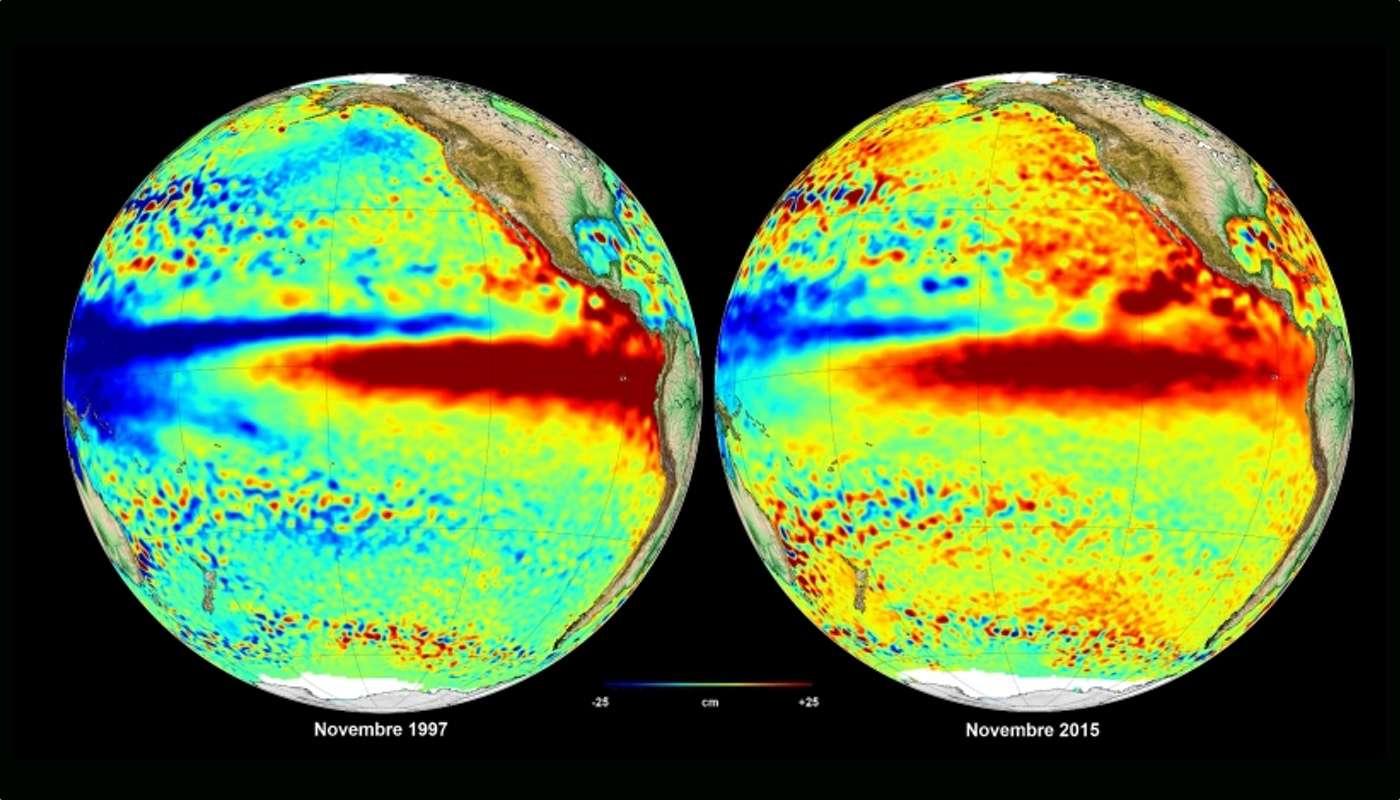 El Niño est visible en rouge sur ces images qui présentent les anomalies du niveau de la mer. À gauche, l'épisode de 1997 vus par Topex-Poséidon en novembre de cette année. À droite, les mesures effectuées en novembre 2015 par Jason-2, Saral-Altika, HY-2A et Cryosat. « Il devrait atteindre son paroxysme fin décembre puis disparaître au printemps » prévoit Émilie Bronner, spécialiste des satellites altimétriques au Cnes. © Aviso, Cnes, CLS 2015