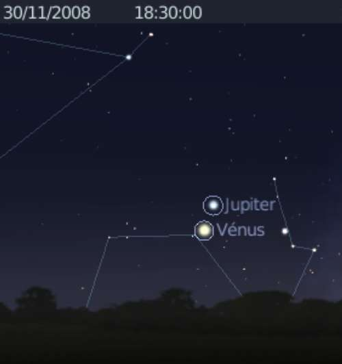 La planète Vénus est en rapprochement avec la planète Jupiter