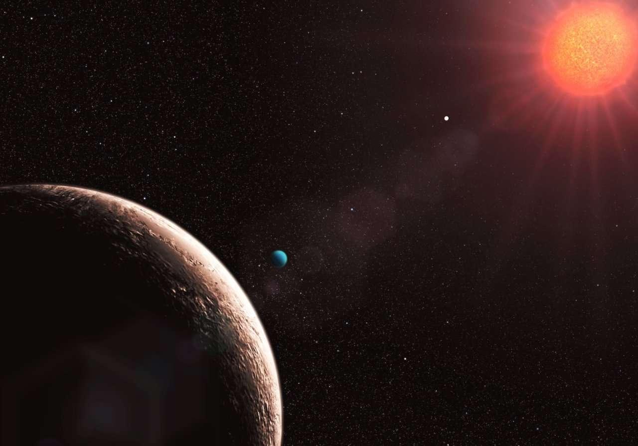 L'exoplanète GL581d, le point blanc près de l'étoile : Gl581e nouvellement détectée. Crédit : ESO/L. Calçada