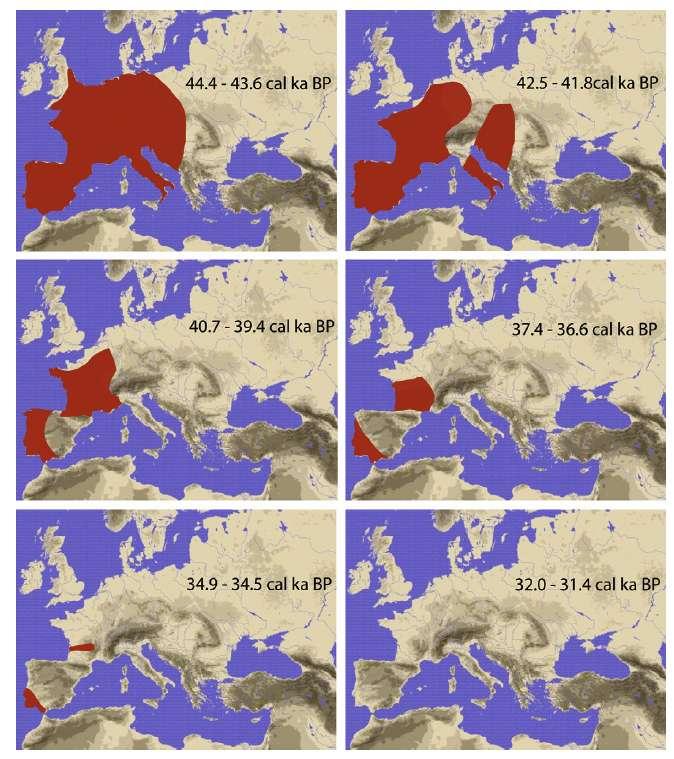 Les régions occupées par Néandertal à différentes époques en Europe sont en rouge. BP signifie Before present donc avant aujourd'hui. © Actualisée d'après Bocquet-Appel and Demars, 2000