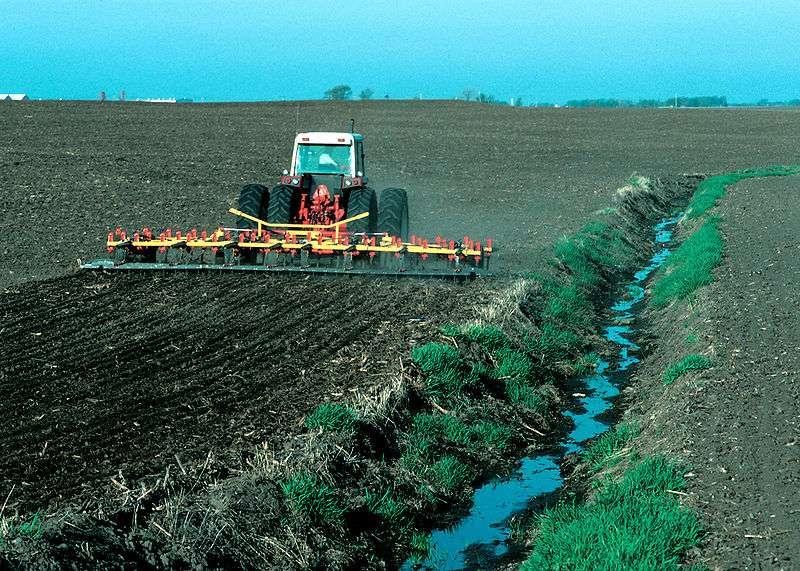 L'absence de zone tampon entre la partie cultivée d'un champ et les cours d'eau est une cause de pollution diffuse aggravée. © Lynn Betts / U.S. Department of Agriculture, Natural Resources Conservation Service, domaine public