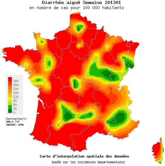 La gastroentérite sévit sur la majorité de la France. Seules quelques régions, signalées en vert, ne sont pas touchées par l'épidémie, qui devrait désormais commencer à reculer. © Réseau Sentinelles