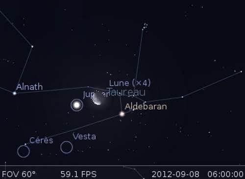 La Lune en rapprochement avec Jupiter et Aldébaran