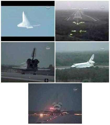 Diverses vues du retour de Discovery capturées sur Nasa-TV. Crédit NASA.