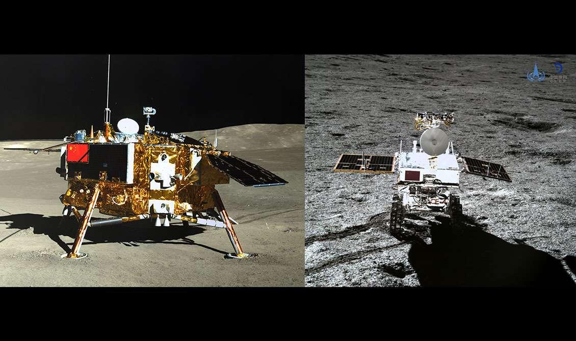 À gauche, l'atterrisseur de la mission Chang'e 4 vu par la caméra panoramique (PCAM) du rover Yutu 2. Inversement à droite : le rover vu par la Terrain Camera (TCAM) de l'atterrisseur. © CNSA/CLEP