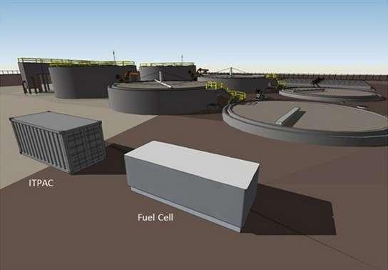 Vue simulée de l'installation Data Plant. Au premier plan, le data center (ITPAC) est alimenté par la pile à combustible (fuel cell) qui reçoit son énergie des biogaz extraits des digesteurs de la station de traitement des eaux usées située juste à côté. © Microsoft