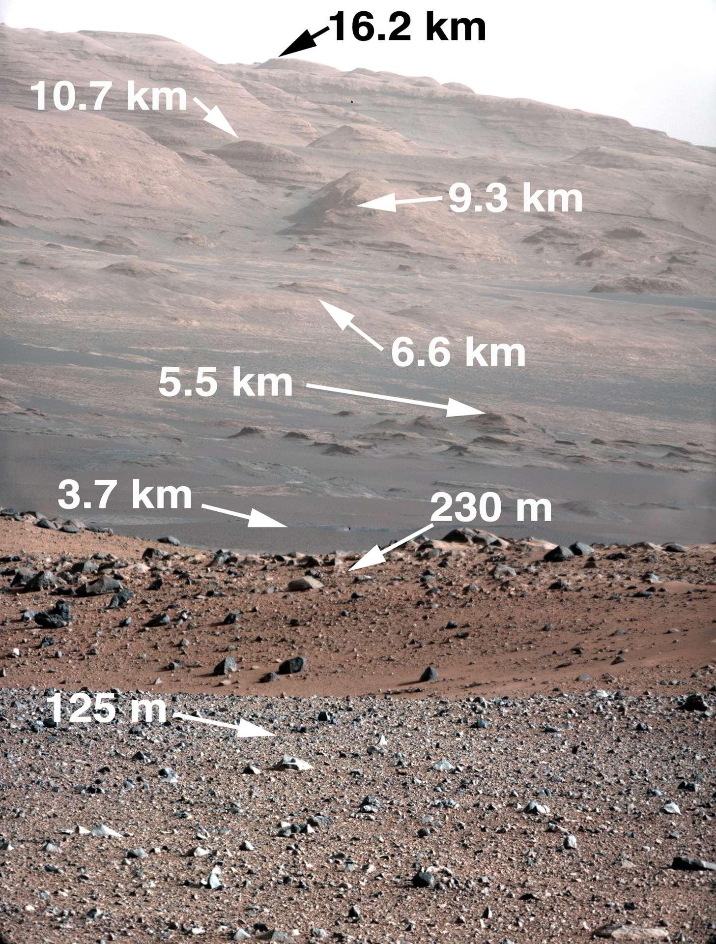La même image, prise avec la caméra Mastcam, avec les indications de distance. Curiosity rejoindra la mont Scharp l'an prochain. © Nasa/JPL-Caltech/MSSS