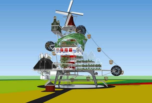 TJEP a imaginé des fermes du futur, axées sur le développement durable, la gestion des déchets et l'autosuffisance. © TJEP (tous droits réservés)