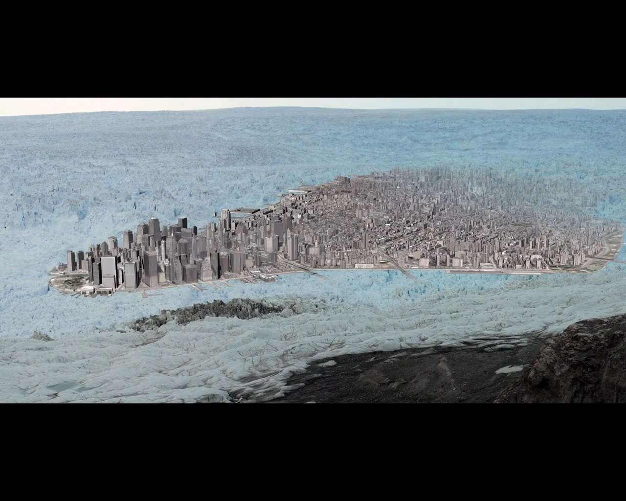 Le vêlage est la chute de glace à l'origine de la formation des icebergs. Dans le documentaire Chasing Ice, les cinéastes montrent le plus grand vêlage jamais filmé. Le glacier a perdu 7,3 km3 de glace, une masse d'une superficie plus grande que le quartier de Manhattan. ©, Chasing Ice, capture d'écran