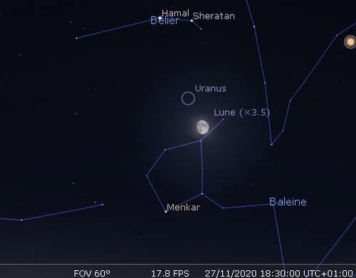La Lune en rapprochement avec Uranus