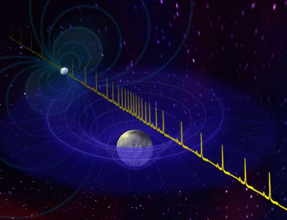 Sur cette image d'artiste, on voit en haut à gauche le pulsar. Le signal radio qu'il émet passant au voisinage de la naine blanche, il subit un délai d'autant plus grand que la masse de la naine blanche est importante, selon les équations de la relativité générale. © Bill Saxton, NRAO/AUI/NSF