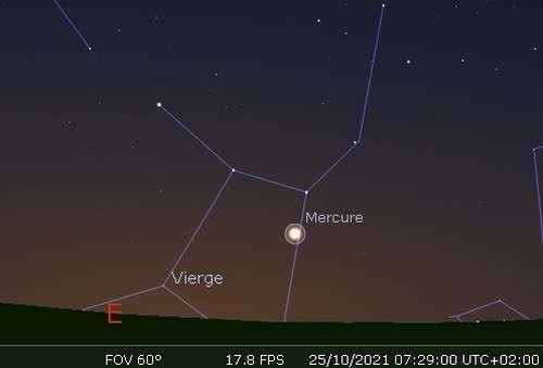 Élongation maximale de Mercure à l'ouest du Soleil
