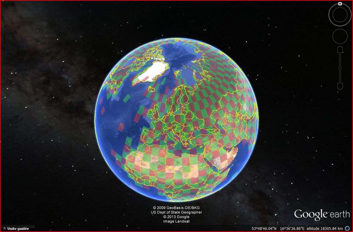 Sur cette carte, seuls quelques territoires ne sont pas colorés en rouge ou en vert, comme au niveau du Sahara. Cela signifie qu'ils n'abritent pas de station météorologique et donc qu'aucune donnée de température n'y est disponible. © Google Earth