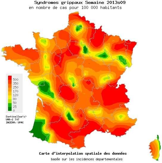 Peu à peu, la France qui était rouge vire à l'orange, au jaune et au vert, preuve que l'épidémie de grippe recule. Mais les virus circulent toujours, alors prudence : il faut éviter le contact rapproché avec les personnes malades, et surtout bien se laver les mains pour ne pas rester alité plusieurs jours. © Réseau Sentinelles