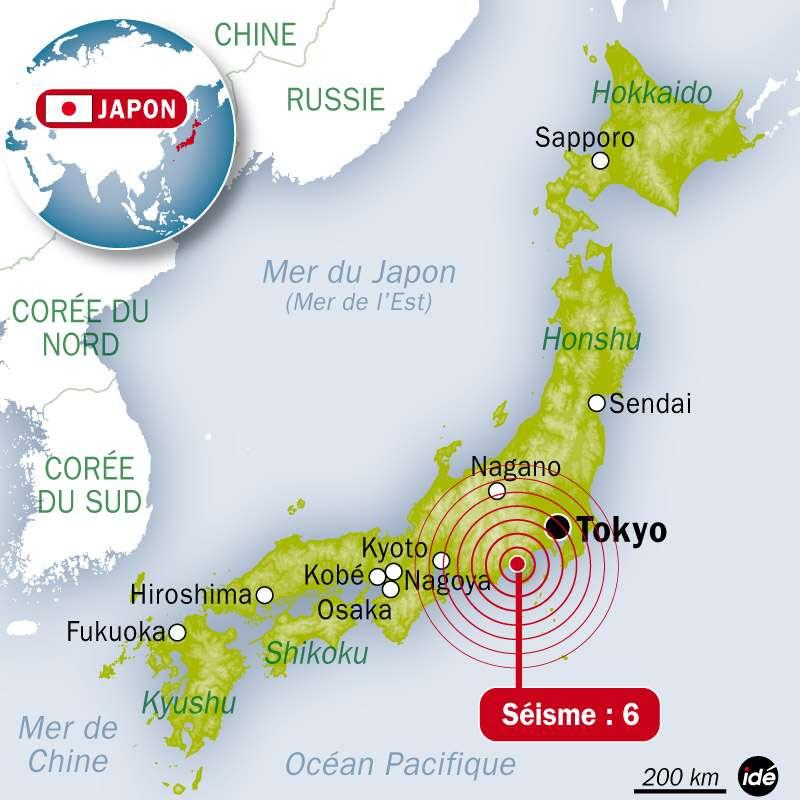 Un séisme de magnitude 6 vient de toucher le Japon. L'épicentre se trouve à environ 120 kilomètres au sud-ouest de Tokyo. © Idé
