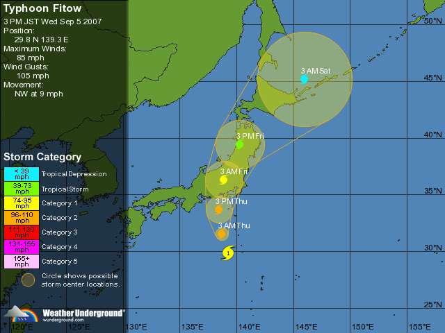 Les prévisions pour Fitow. Après son passage sur le Japon il devrait redevenir une simple tempête tropicale.