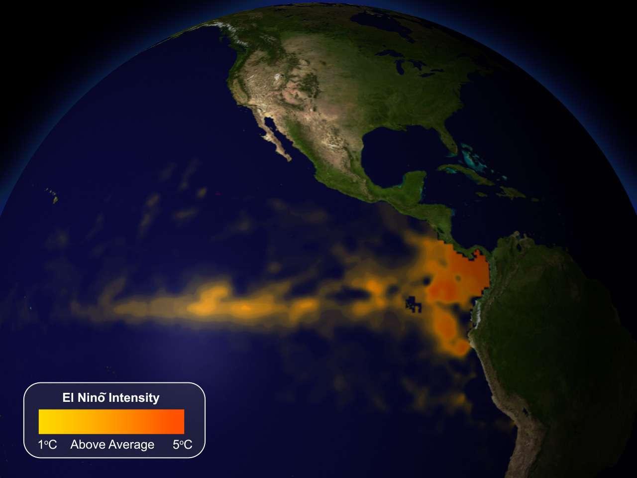Durant un événement El Niño, les eaux sont plus chaudes que la moyenne dans l'est du Pacifique équatorial (représenté en orange sur la carte). Cette configuration océan-atmosphère affecte la météo du monde entier. Une nouvelle étude décrit un signal atmosphérique El Niño qui est très fortement associé aux impacts climatiques hivernaux aux États-Unis. © NOAA Visualization Laboratory