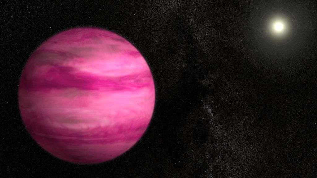 En 2013, plusieurs grands instruments spécialisés dans la quête d'exoplanètes ont réalisé une belle récolte. Plus de 1.000 sont aujourd'hui connues, et bien des candidates restent en lice. Beaucoup sont curieuses et surprennent les astrophysiciens, comme cette Jupiter rose (ici en vue d'artiste) découverte grâce au télescope Subaru. GJ 504b tourne autour de l'étoile 59 Virginis (GJ 504). Âgée d'environ 100 millions d'années, elle est encore chaude et apparaît magenta dans le visible. Située à 44 unités astronomiques de son astre central, elle ne devrait pas exister selon le modèle cosmogonique standard. © S. Wiessinger, Nasa's Goddard Space Flight Center