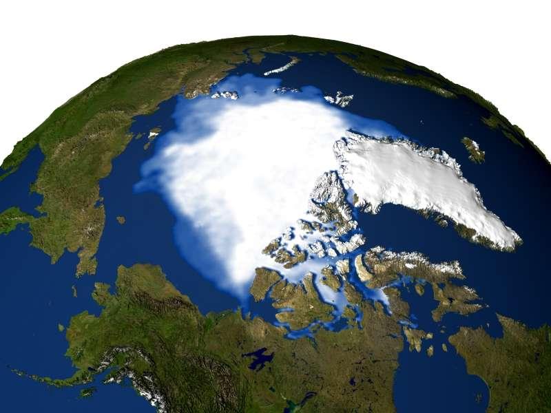 La réduction de la banquise rend de plus en plus facile l'exploitation des réserves situées sous l'océan Arctique (ici la couverture moyenne des années 2003 à 2005). © Nasa