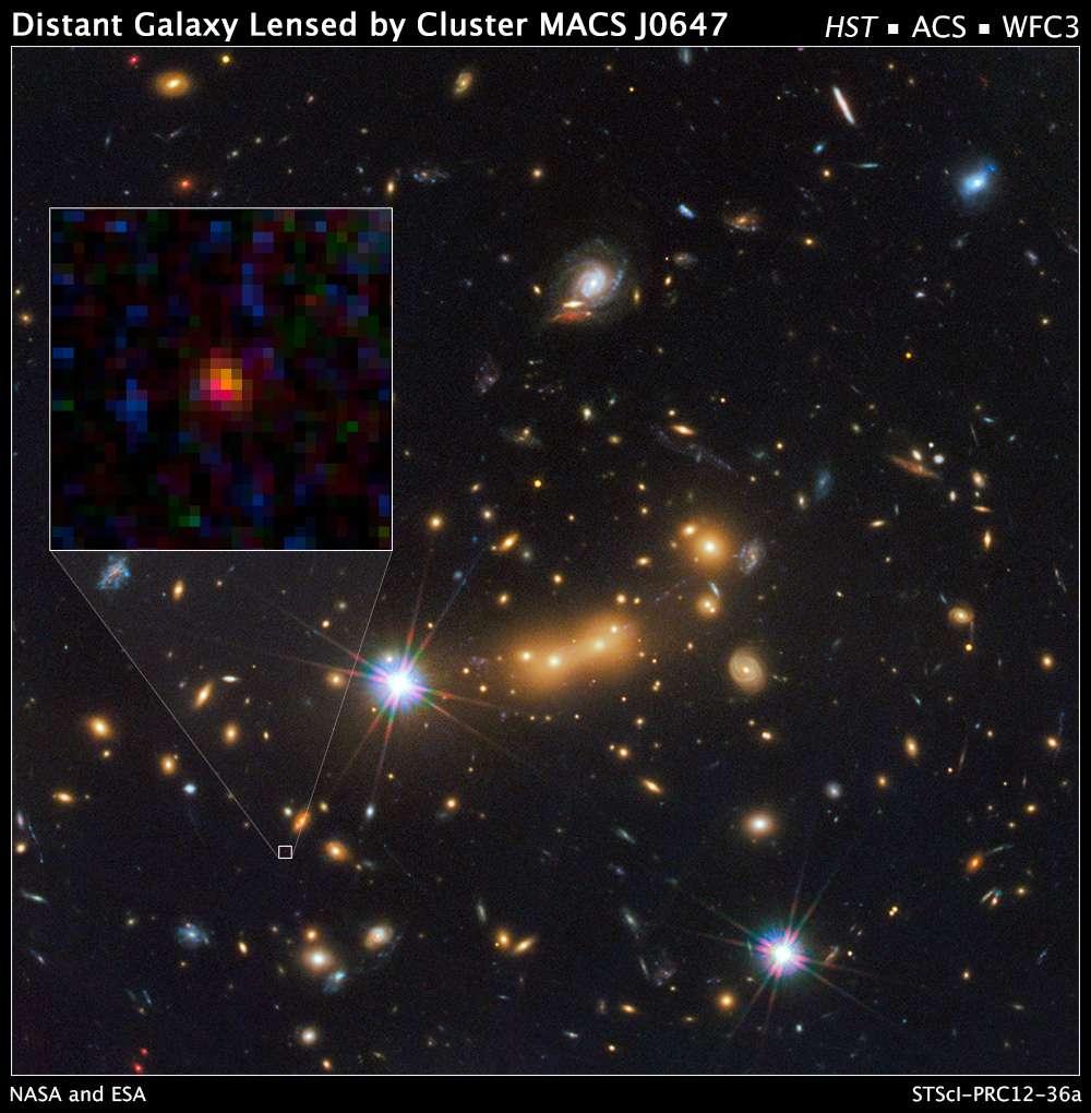 MACS0647-JD est désormais la galaxie la plus ancienne. Elle a été débusquée par les télescopes spatiaux Hubble et Spitzer avec la complicité d'une lentille gravitationnelle. © Nasa, Esa, Hubble Space Telescope