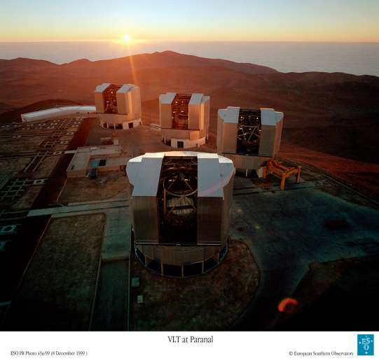 Le VLT, l'observatoire de l'Eso sur le mont Paranal au Chili. © Eso