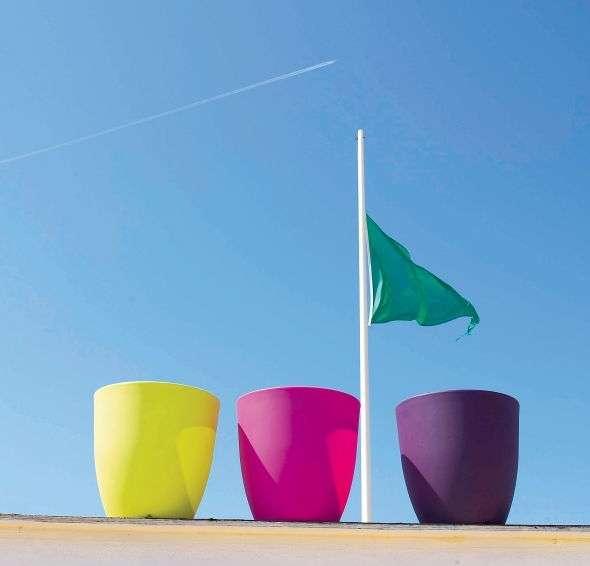Aubergine, fluo et turquoise sont les couleurs du jardin de cet été. À placer avec des pots, accessoires, luminaires et petits meubles. © Truffaut, sélection jardin été 2012, tous droits réservés
