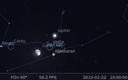 La Lune en rapprochement avec Cérès, Vesta et Aldébaran