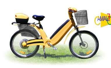 Le Cameleo Fuel Cell, vélo électrique à pile à combustible de l'italien Faam. Les jambes fournissent 30 % de l'énergie, il faut une demi-heure pour faire le plein, le prix atteint 3000 euros mais l'engin ne produit que de l'eau (et de la sueur) et coûte 2