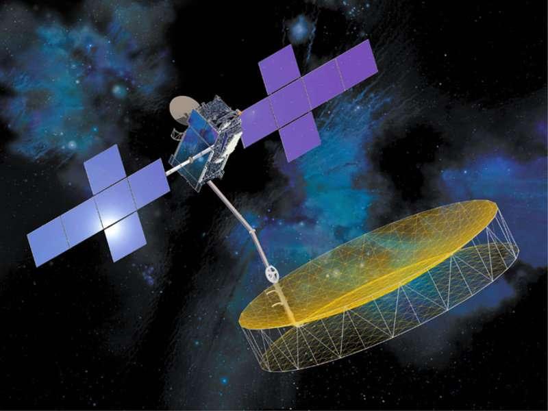 Terre Star-1, un satellite de 6.910 kg, à l'imposante antenne, se trouve désormais en orbite géostationnaire. © TerreStar