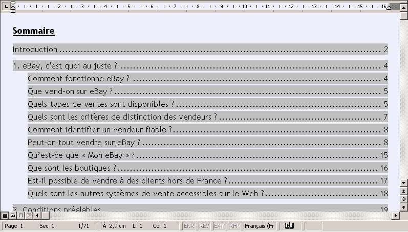 Word Realiser Une Table Des Matieres