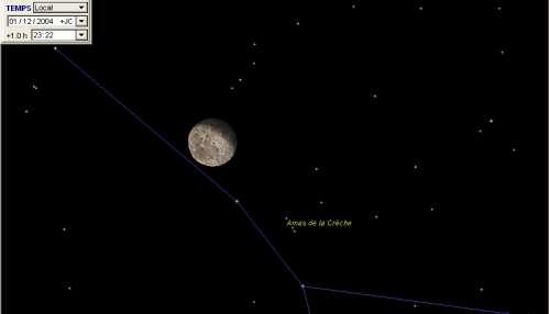 La Lune passe à proximité de l'amas de la crèche (M44)