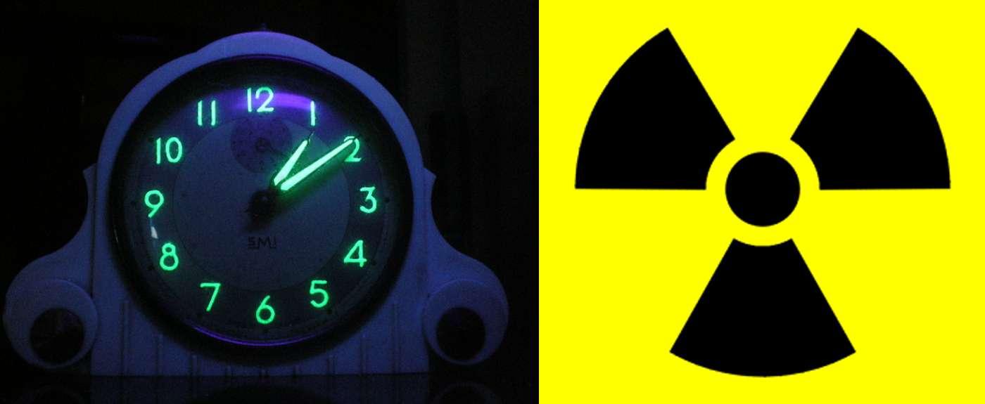 Le radium est un élément radioactif nocif pour la santé. Il a un moment été utilisé pour ses propriétés luminescentes rendant visibles les aiguilles de certaines horloges (à gauche sur la photo) avant d'être interdit pour toutes les applications non médicales en 1937. © Arma95, Wikimedia Commons, CC by-sa 3.0 et Sarang, Wikimedia Commons, DP