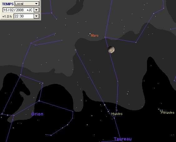 La Lune est en rapprochement avec la planète Mars