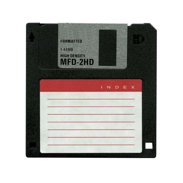 La disquette 3,5 pouces aura vécu, ou plutôt survécu, plus de vingt ans, malgré une capacité largement inférieure à celle d'une photo numérique. © DR